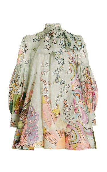 Concert Tie-Neck Linen-Silk Mini Dress