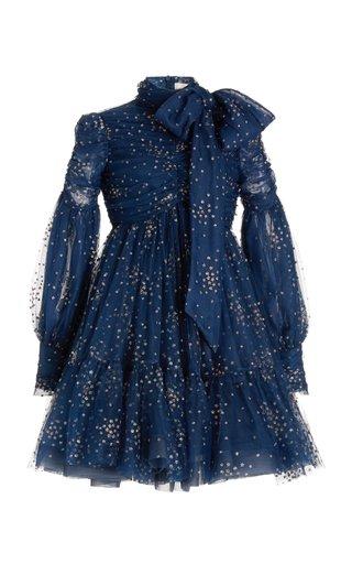 Rhythm Glittered Linen-Silk Tie-Neck Mini Dress