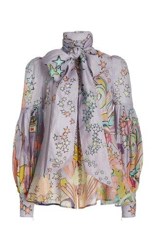 Concert Printed Linen-Silk Tie-Neck Top