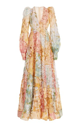 Tempo Disc-Embellished Floral Linen-Silk Gown