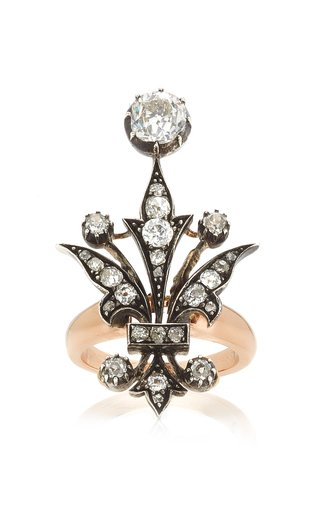 Exclusive Mixed Metal Old Cut Diamond Ring