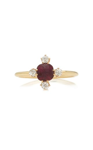 Queens Pigeon 14k Gold Blood Ruby and Diamond Ring