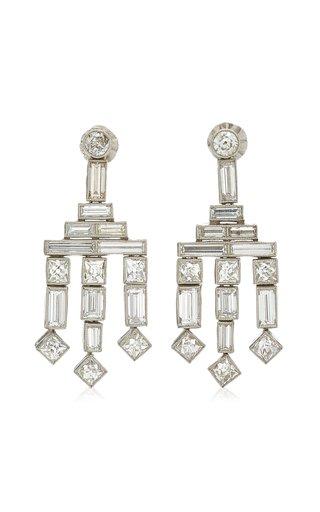 Frenchie Chandelier Platinum Diamond Earrings