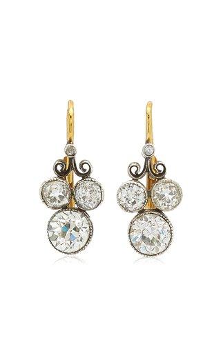 Old European 14k Gold-Plated Diamond Drop Earrings