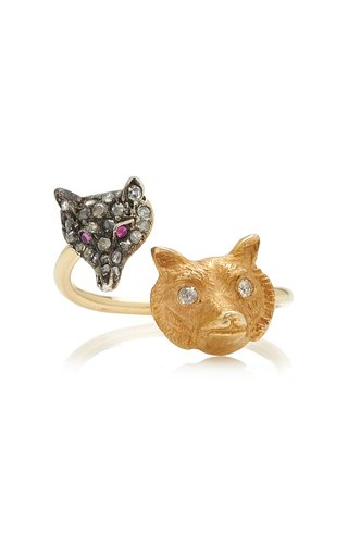 Foxy 14k Gold-Plated Diamond and Ruby Ring