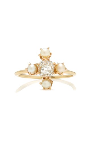 14k Gold Pearl and Diamond Cluster Ring