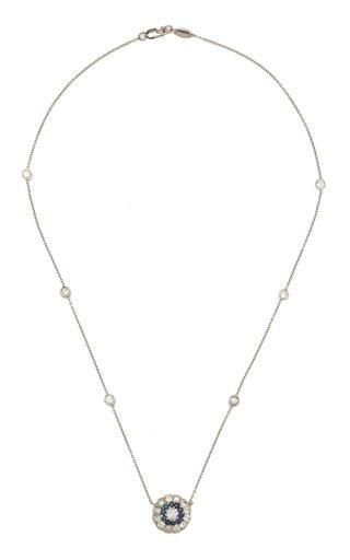 18k White Gold Diamond & Sapphire Deco Cluster Necklace