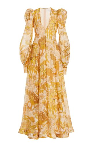 Tempo Puff-Sleeve Printed Linen-Silk Gown