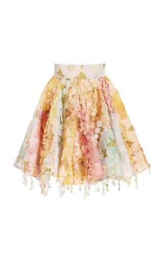 Tempo Disc-Embellished Floral Chiffon Mini Skirt