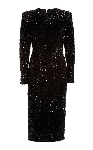 Sequined Velvet Midi Dress