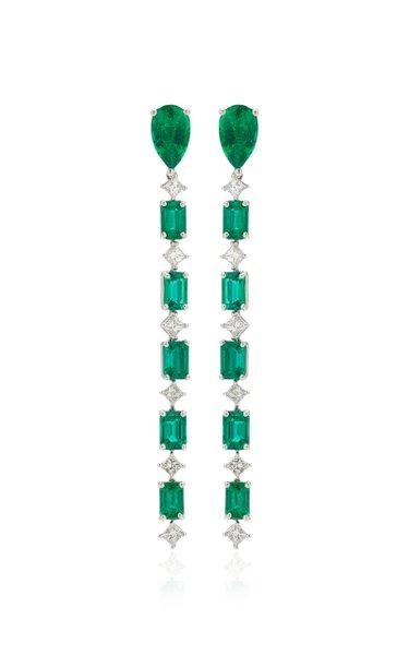 G-One Platinum Emerald, Diamond Earrings