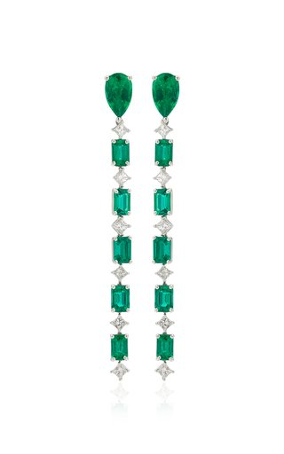 G-One Platinum Emerald, Diamond Earrings