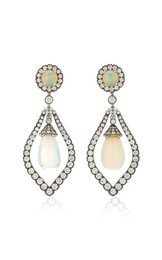 G-One 18K White Gold Opal, Diamond Earrings