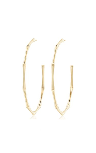 Indochine 14K Yellow Gold Large Bamboo Hoops