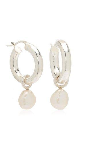Large Sterling Silver Pearl Hoop Earrings