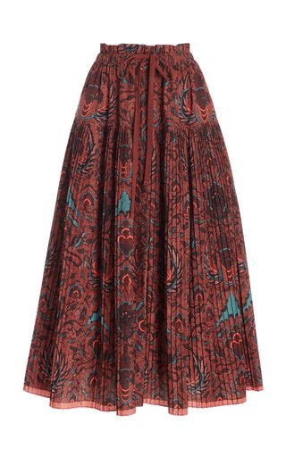 Lourdes Printed Cotton Midi Skirt