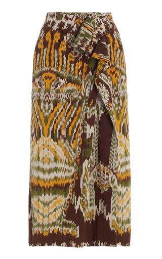 Ember Printed Cotton Midi Skirt