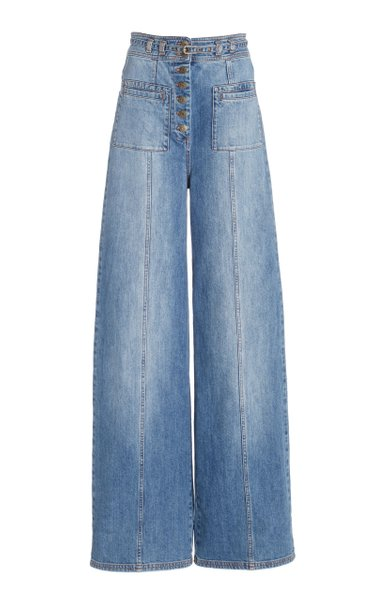 Abrams Stretch High-Rise Wide-Leg Jeans