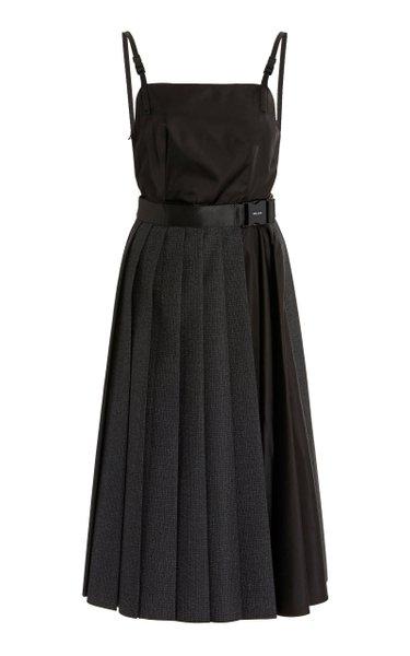 Checked Wool and Nylon-Gabardine Midi Dress