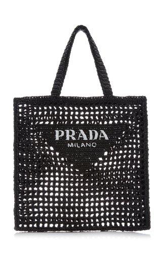 Logo-Embroidered Raffia Tote Bag