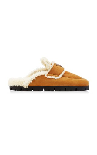 Logo-Detailed Shearling Slippers