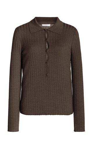 Ribbed Silk-Wool Polo Top