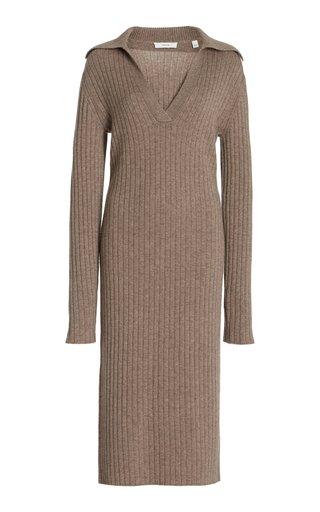 Ribbed-Knit Wool-Cashmere Midi Polo Dress