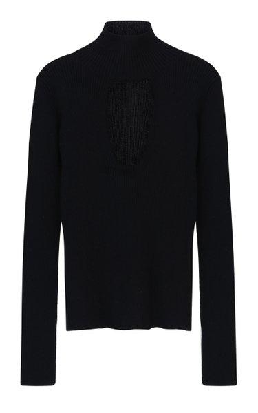 Keyhole Ribbed-Knit Turtleneck Sweater