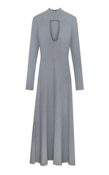 Keyhole Ribbed-Knit Maxi Dress
