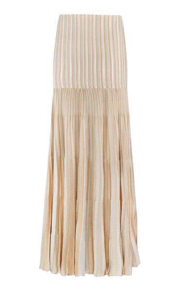 Pleated Mélange Maxi Skirt