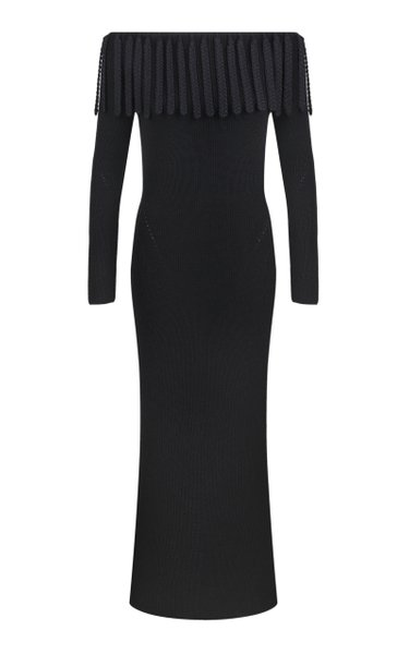 Fringed Wool-Knit Maxi Dress