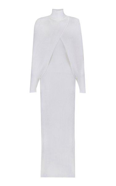 Caped Ribbed Maxi Dress