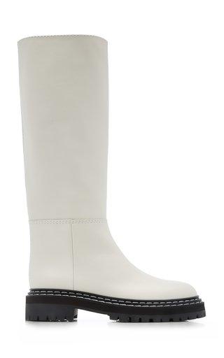Leather Lug-Sole Knee Boots