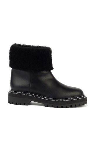 Shearling-Lined Leather Lug-Sole Boots
