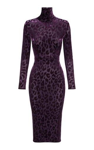 Cullen Leopard Flocked Jersey Midi Dress