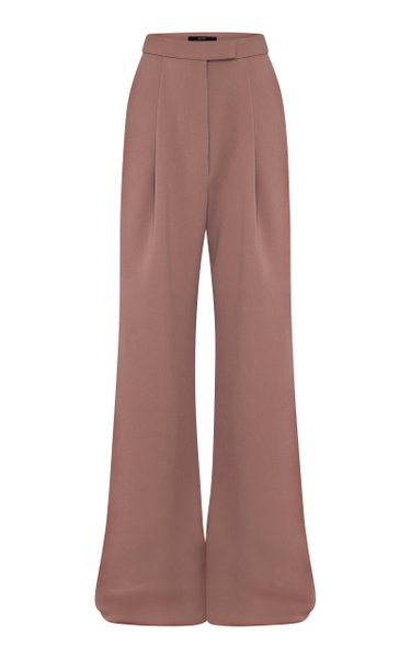 Hale Pleated Stretch-Crepe Wide-Leg Trousers