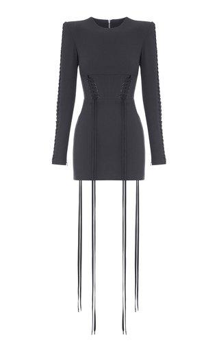 Brody Lace-Up Stretch-Crepe Mini Dress