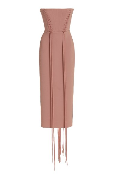 Miran Lace-Up Stretch-Crepe Strapless Midi Dress