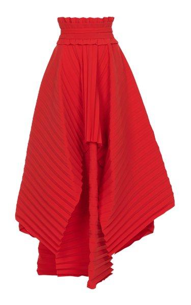 Pleated Crepe Maxi Skirt