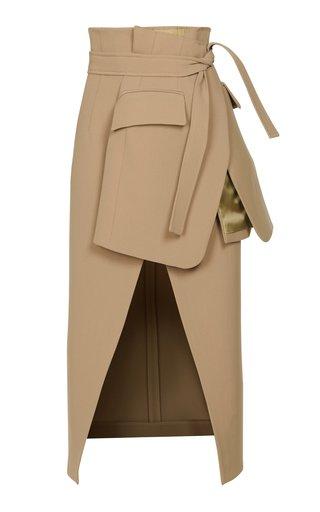 Belted Crepe Midi Skirt