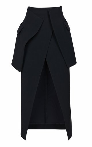 Wrap-Effect Crepe Midi Skirt