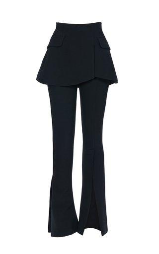 Slit-Detailed Crepe Straight-Leg Pants