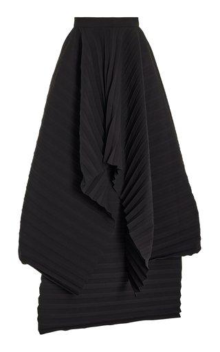 Pleated Crepe Midi Skirt