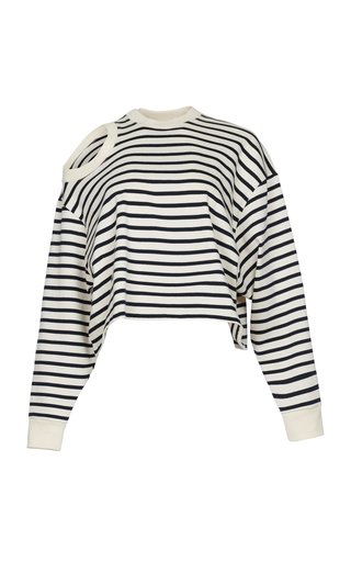 Cutout Striped Cotton Top