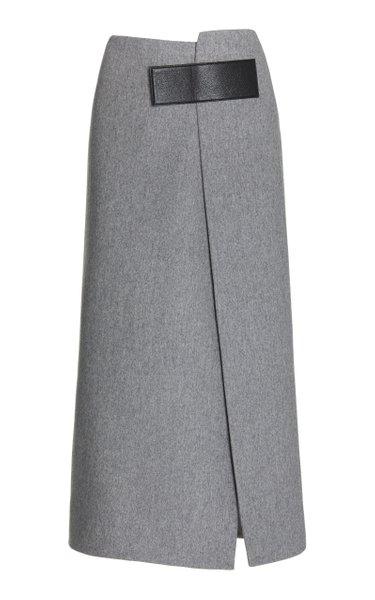 Melange Virgin Wool Wrap Skirt