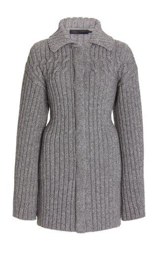 Ribbed-Knit Wool-Blend Cardigan