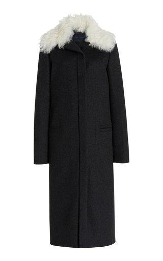 Melange Shearling-Trimmed Virgin Wool Coat