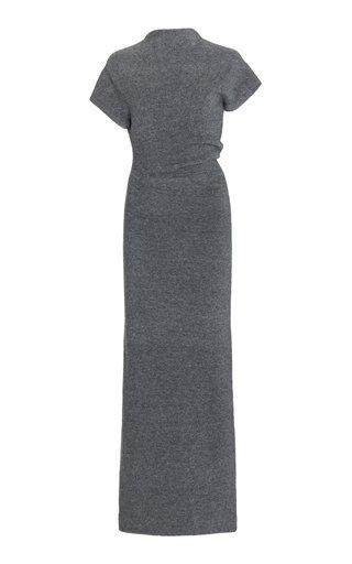 Twisted Wool-Melange Maxi Dress