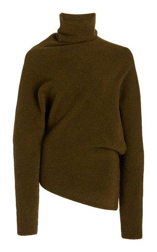 Twist-Accented Wool-Knit Turtleneck Sweater