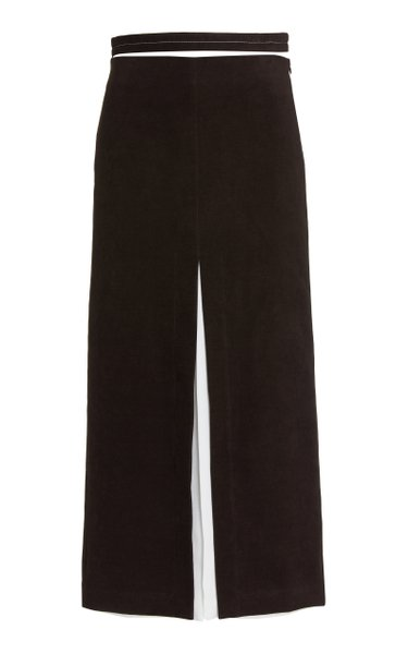 Layered Brushed Crepe Split Skirt